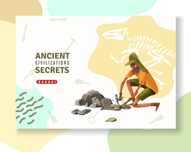 Archeology concept banner with abstract ornaments pictogram silhouettes of digging tools and doodle style human character