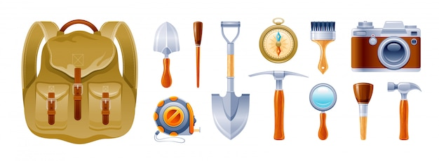 Archeology and geology vintage equipment, expedition instruments icons set.