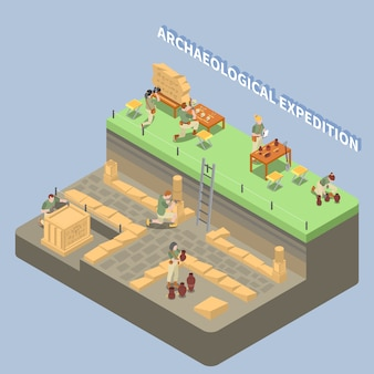 Archeology isometric composition with ancient remains and expedition symbols