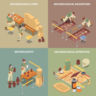 Archeology isometric concept icons set with excavations and finds symbols isolated