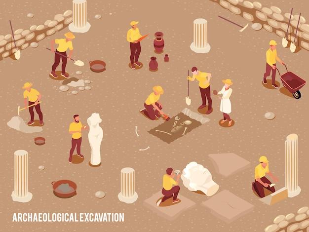 Illustrazione isometrica di archeologia con processo di scavo archeologico di antichi manufatti