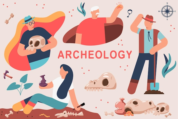 Archeology vector cartoon illustration of a man and a woman by archaeologists at the dig.