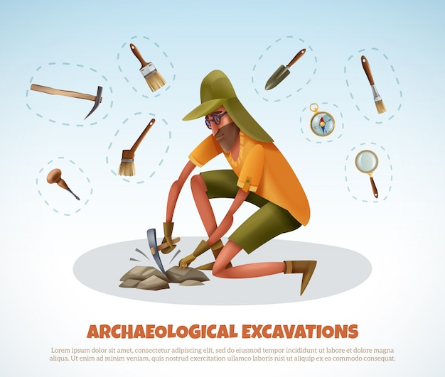 Archeology  with doodle style man digging ground and isolated pieces of excavation equipment with text