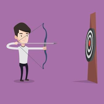 弓と矢をターゲットに向ける射手。