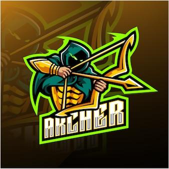 Archer esport талисман дизайн логотипа