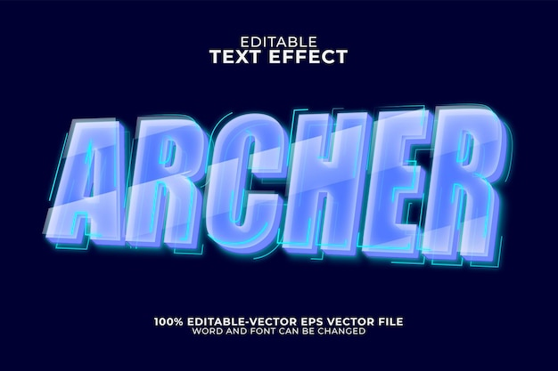 Archer text effect isolated on dark blue