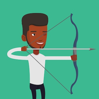 Archer training with the bow vector illustration.