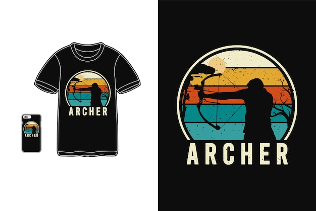 Archer typography on t-shirt merchandise and mobile