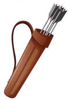 茶色のバッグにアーチェリーの矢