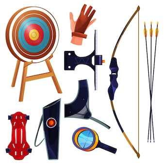 Archery equipment or sport tools collection set