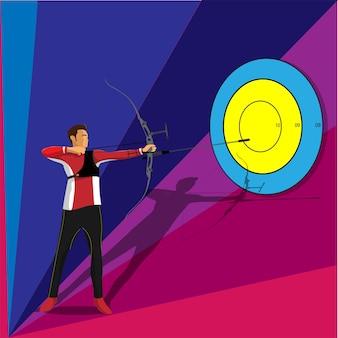 青とピンクの背景にダーツボードをターゲットに狙うアーチェリーマン。