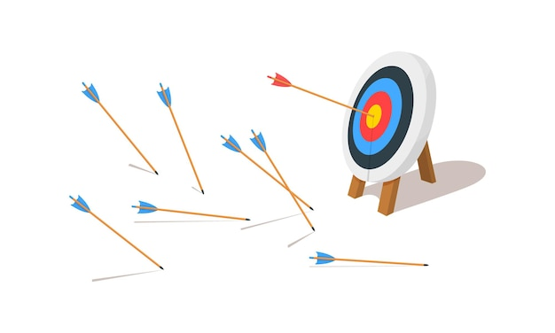 Archery target ring with one hitting and many missed arrows
