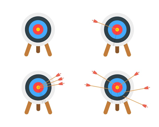 Archery target ring with and without arrows hitting bullseye dartboard on tripod set
