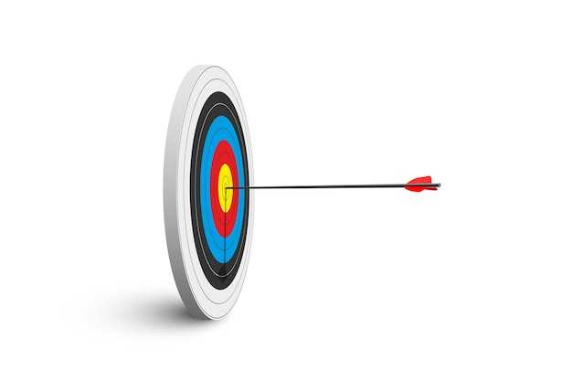 Archery target with red arrow isolated on white background.