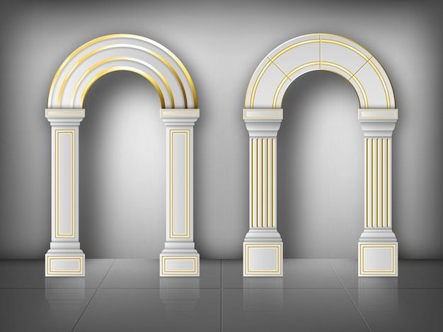 Arches with columns in wall white gold pillars
