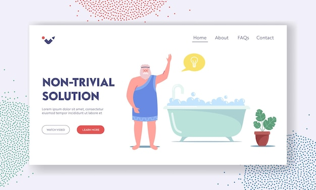 Archimedes character saying eureka in bath landing page template. idea, insight of genius mathematician inventor. scientific discovery, excitement exclamation, science. cartoon vector illustration