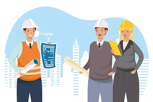 건설 리모델링 및 작업 테마 벡터 일러스트 레이 션의 도시 디자인에서 계획을 가진 건축가 및 엔지니어 사람들