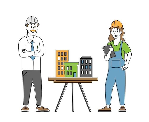 建築家、建築家エンジニアのキャラクターが職長にモックアップした家のモデルを提示します。建築およびエンジニアリング建設
