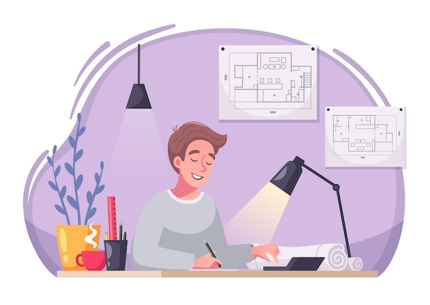 Il personaggio dei cartoni animati dell'architetto lavora all'illustrazione dello scrittorio