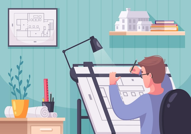 Composizione di cartoni animati dell'architetto con elementi interni di paesaggi interni e schema di disegno del personaggio umano di un progetto