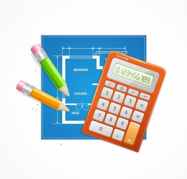 アーキテクトコンセプトフラットリアルティ。建築のためのエンジニアリング。コストと投資のコスト計算。