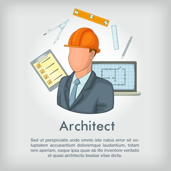 Architect concept tools, cartoon style