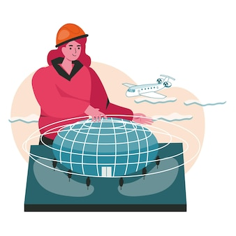 Architect creates model of building scene concept. woman engineer in helmet making project plan. construction of design buildings people activities. vector illustration of characters in flat design