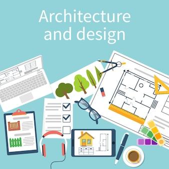 장비와 건축가 디자이너 작업 책상. 건축 프로젝트, 기술 프로젝트, 건축 계획. 건설 계획. 디자이너 테이블의 상위 뷰입니다.