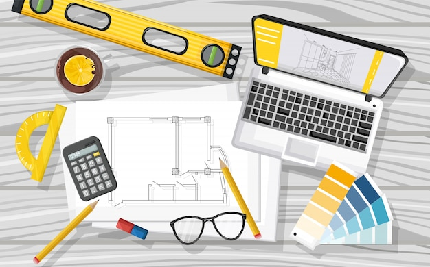 Architect desk with laptop, level tool, tea, glasses, calculator, blueprint