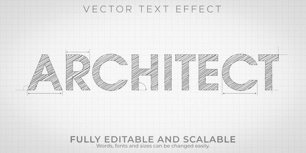 Architect drawing text effect, editable engineering and architectural text style