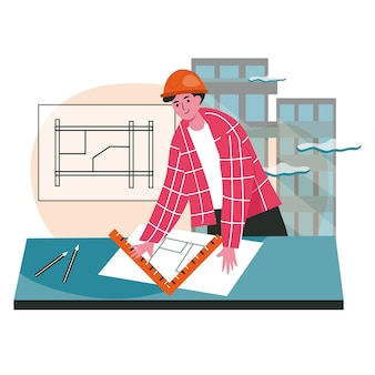 Architect draws blueprint scene concept. engineer in helmet drawing project of building. contractor works at construction site, people activities. vector illustration of characters in flat design