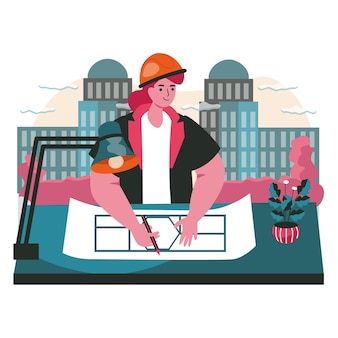 Architect draws blueprint scene concept. woman engineer builder draws plan and develops building project. construction business people activities. vector illustration of characters in flat design