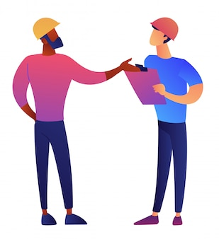 Architect and engineer in construction helmet discussing vector illustration.