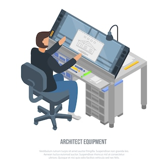 Architect equipment concept in isometric style