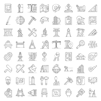 Architect equipment icons set. outline set of architect equipment vector icons