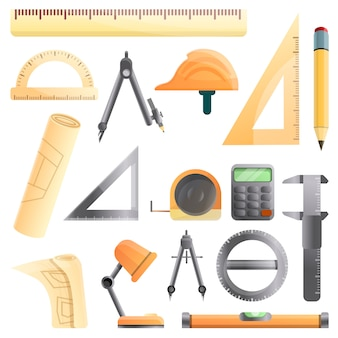 Architect equipment set, cartoon style