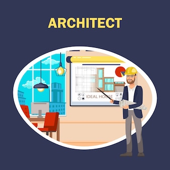 Architect flat vector banner template.