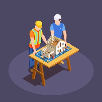 Architect and foreman with house construction project on wooden desk