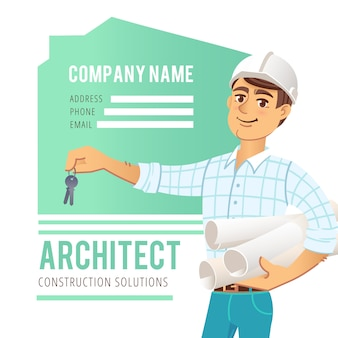 Architect in helmet with blueprints and keys in hand against background of constructed house