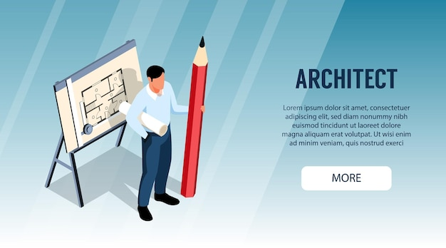 Architect horizontal banner with male character standing near drawing board and holding big pencil