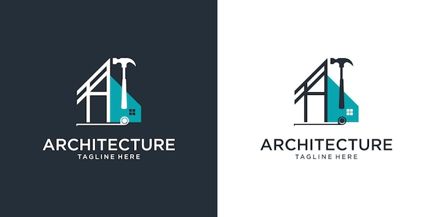Architect house logo  architectural and construction design