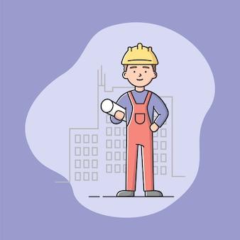 青写真と制服を着た建築家。プロの労働者。作業服を着た自信のある男。