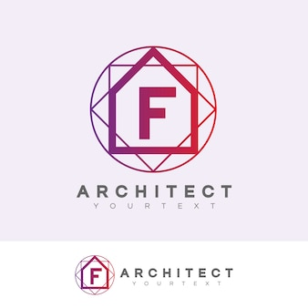 Architect initial letter f logo design