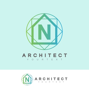 Architect initial letter n logo design
