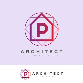 Architect initial letter p logo design