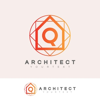 Architect initial letter q logo design
