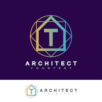 Architect initial letter t logo design