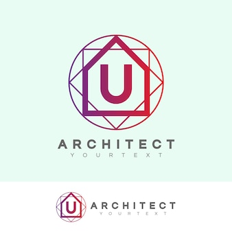 Architect initial letter u logo design