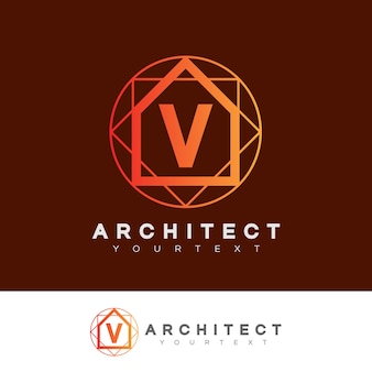 Architect initial letter v logo design