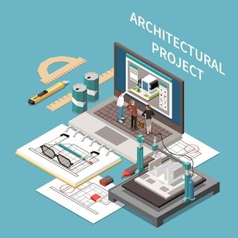 건축가 작업장 요소가 있는 건축가 아이소메트릭 구성은 작은 사람들과 연필과 노트북을 프로젝트합니다.